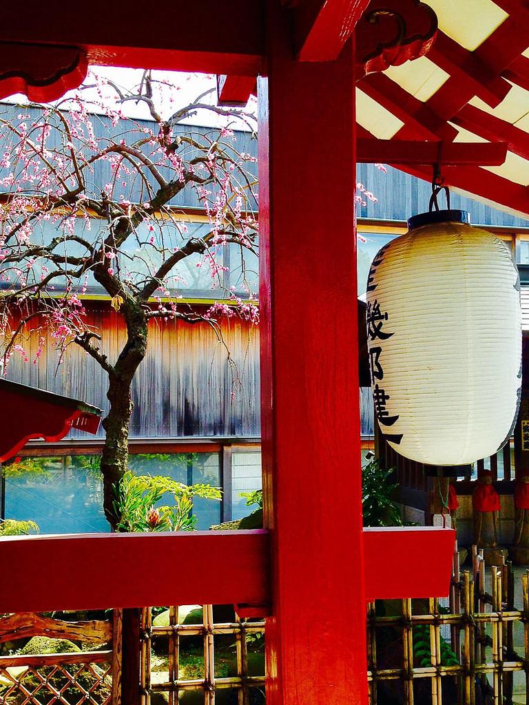 Vivid colors of Kanjoin Shrine and lantern in Okurayama, in Yokohama, Japan