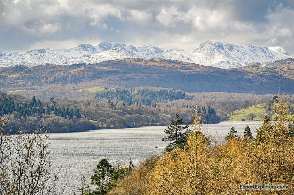 VIew of Lake Windermere in the Lake District Famous England