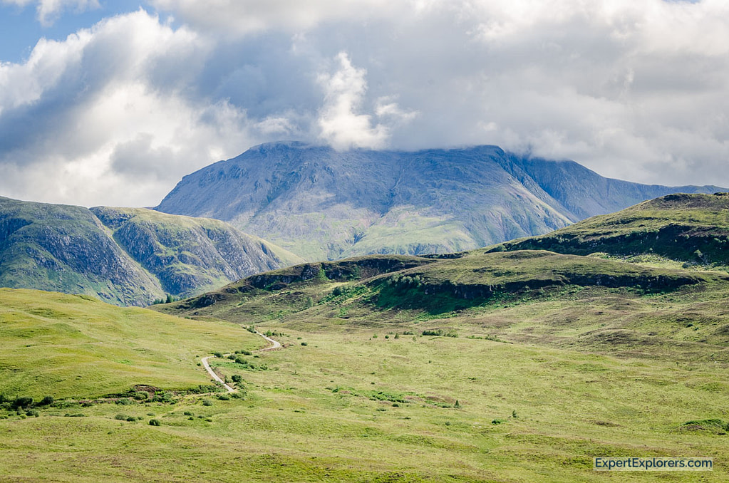 View of Ben Nevis partially covered by clouds, Scotland
