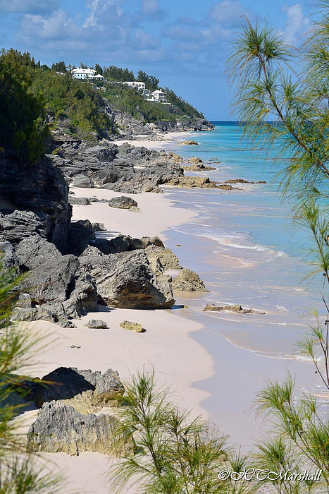 View of the rocks and pink sand shore of Southlands beach, one of Bermuda's best beaches