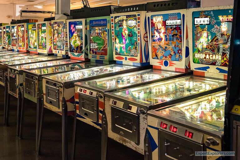 Line of antique pinball machines at the Pinball Hall of Fame, Las Vegas