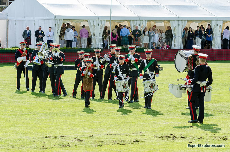 You band plays at the Crieff Highland Gathering in Scotland