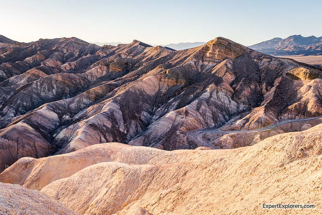 Zabriskie Point colors at sunset, Death Valley National Park