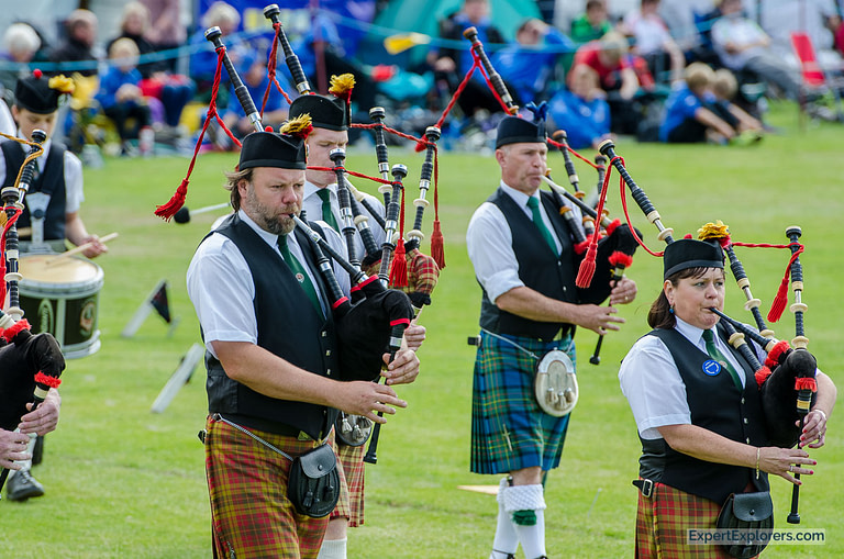 Band playing bag pipes at Crieff Highland Gathering
