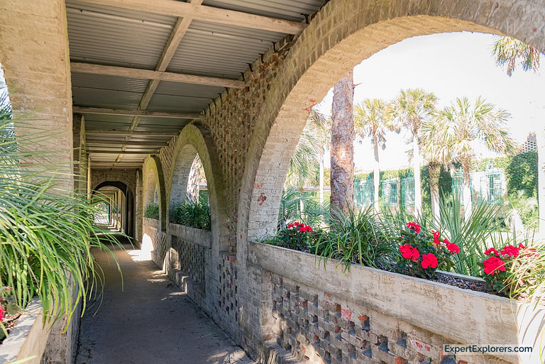 Huntington Beach State Park at Murrells Inlet Atalaya Castle covered walkway