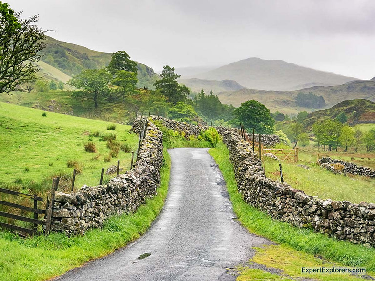 Road with Stone Walls in the Lake District England