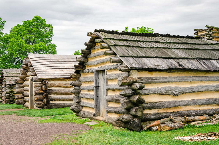 Cabin huts at Muhlenberg Brigade in Valley Forge National Park, Pennsylvania