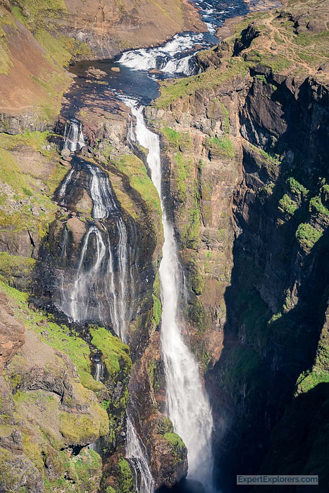 Glymur, the second highest waterfall in Iceland shot from a helicopter. Iceland waterfalls.