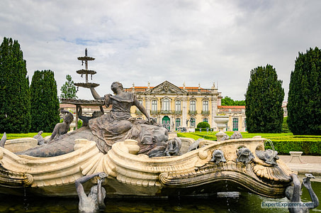 Water fountain at the National Palace of Queluz in Portugal