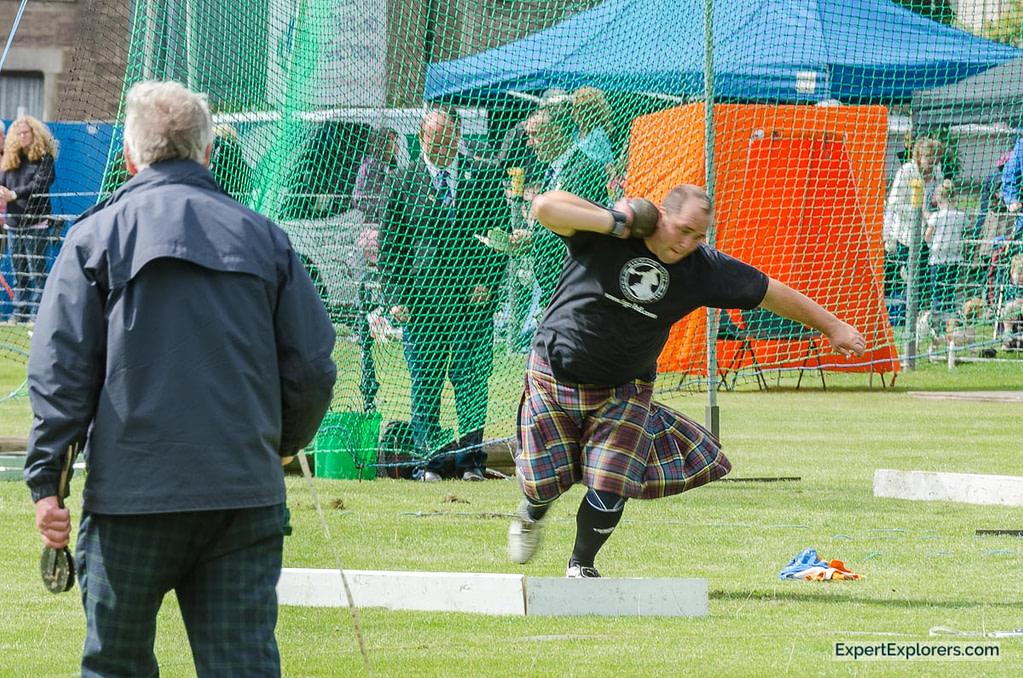 Man throwing shot at Crieff Highland Gathering
