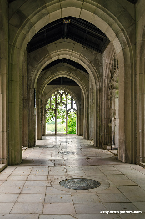 Beautifully designed hallway at Washington's Memorial Chapel in Valley Forge National Park, Pennsylvania