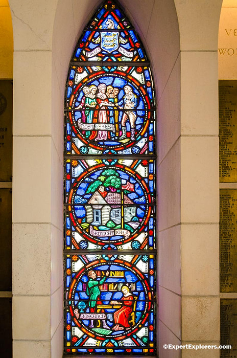 Stained glass window at Washington Memorial Chapel in Valley Forge National Park, Pennsylvania