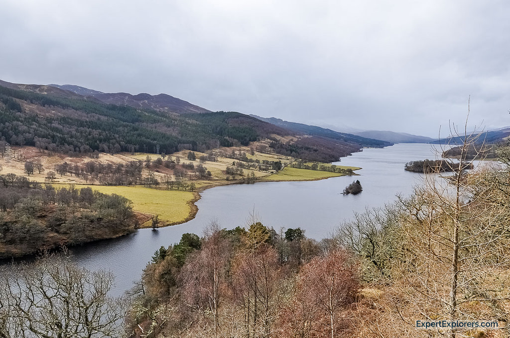 Queens view over a Loch and mountains, close to Aberfeldy, Scotland