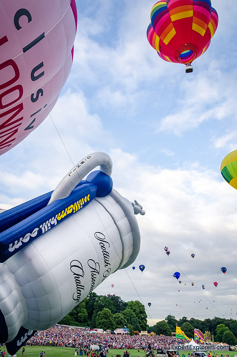 Balloon shaped as a trophy cup takes off from the Bristol International Balloon Fiesta