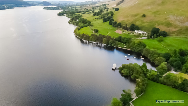 Ullswater from the air Lake District Famous England