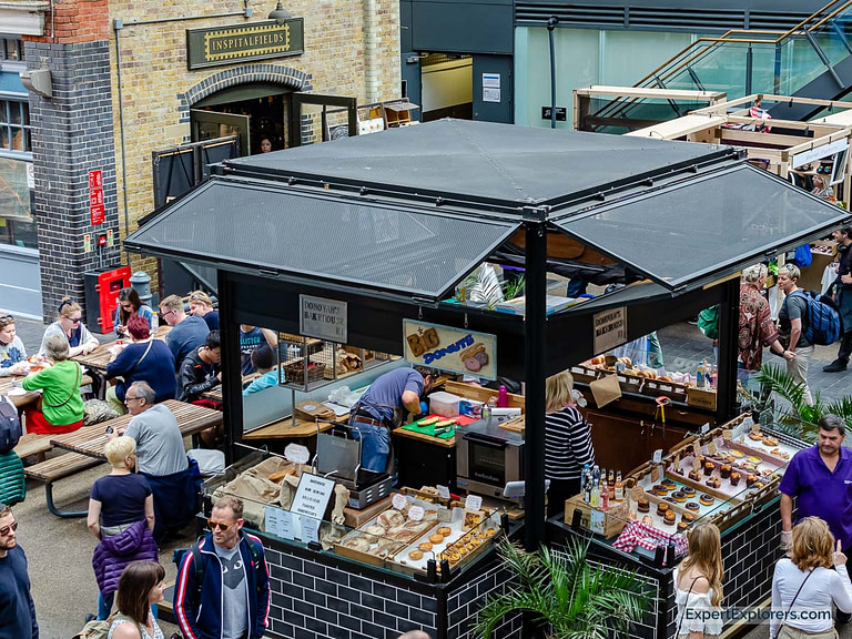 Bakery with donuts and sweets at Spitalfields Market