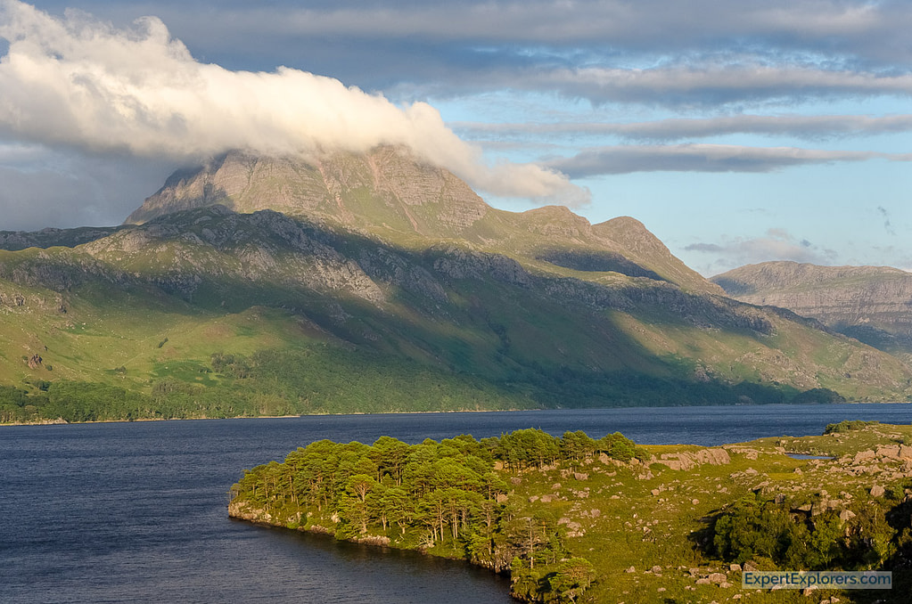View over Loch Maree with the Siloch mountain in the background, Scotland