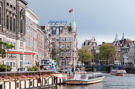 Canal Cruise in Amsterdam's City Center Heineken Building