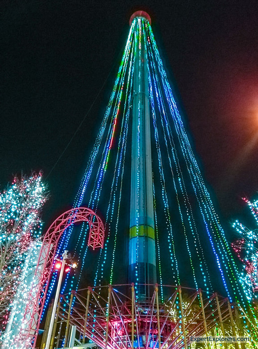 Windseeker at Carowinds WinterFest decorated in lights