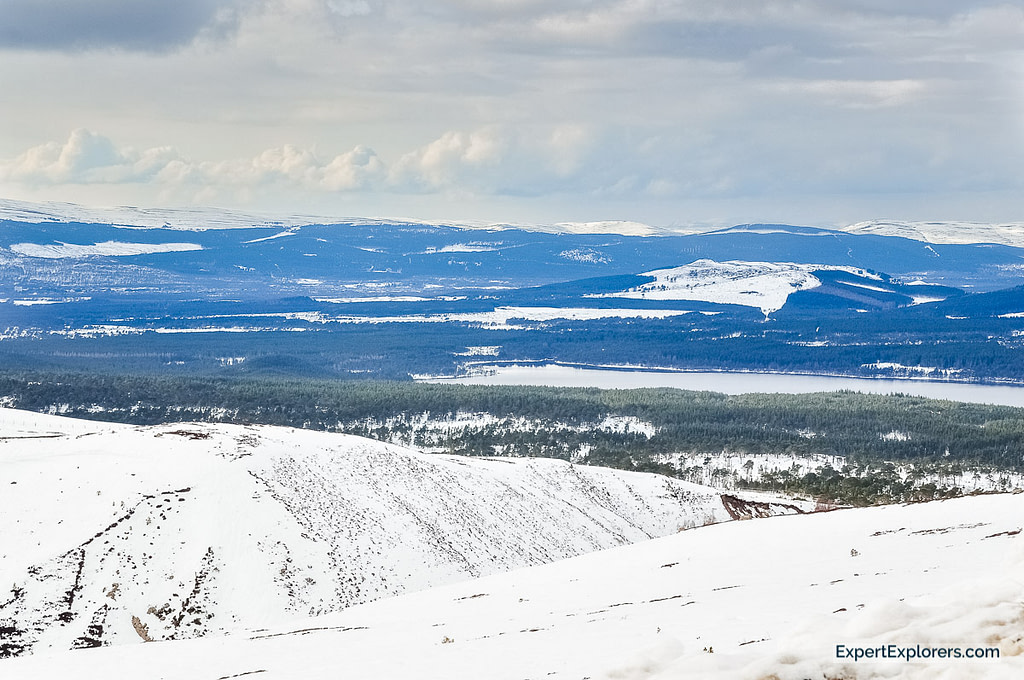View of the mountains covered in snow and Lochs, Cairngorms, Scotland