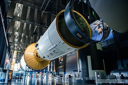Saturn V Rocket suspended above visitors at the US Space and Rocket Center in Huntsville, Alabama