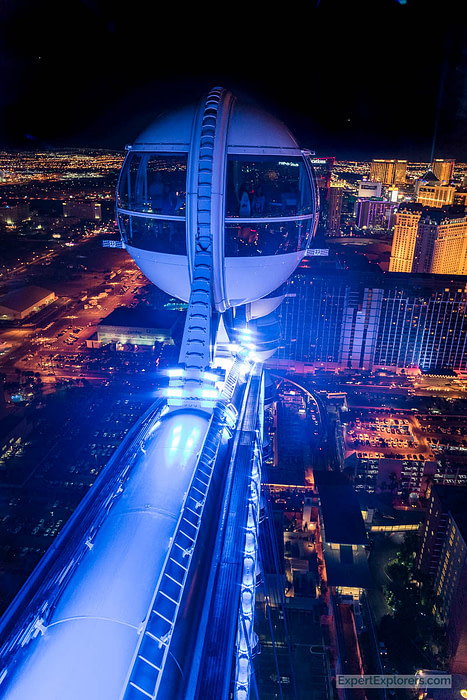 View from the top of the High Roller Observation Wheel at night, Las Vegas