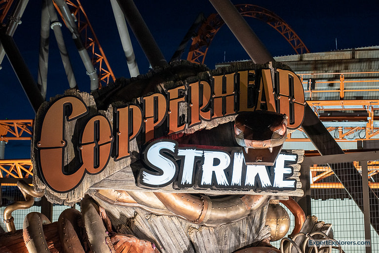 Entrance for the Copperhead Strike roller coaster