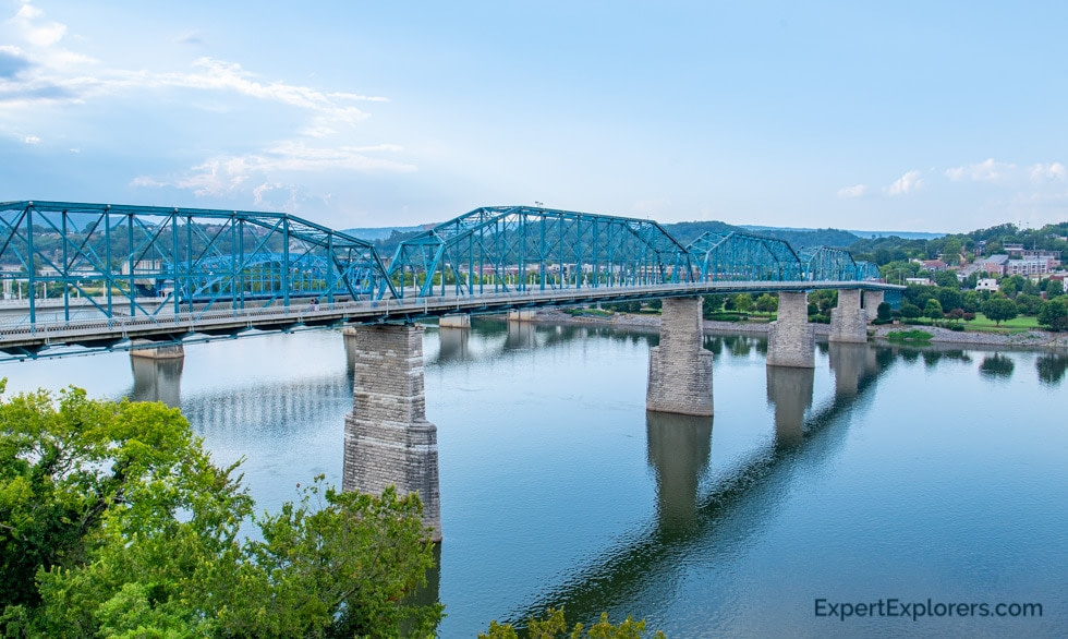 View of the Walnut Street Bridge over the Tennessee River in Chattanooga