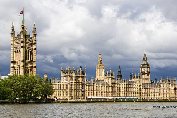 Parliament and the Big Ben Clock Tower as seen from across the River Thames