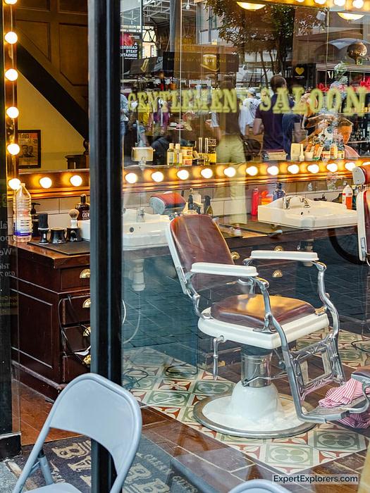 Barber Shop Window at Spitalfields Market London