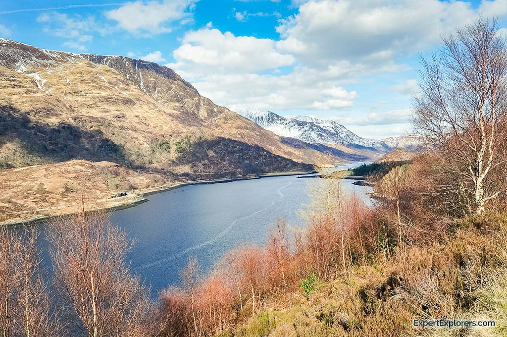 Elevated view over Loch Level and the mountains surrounding it, near Glencoe, Scotland