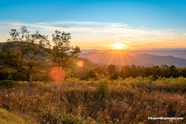 Sunset in the Shenandoah National Park from Spitler Knoll Overlook