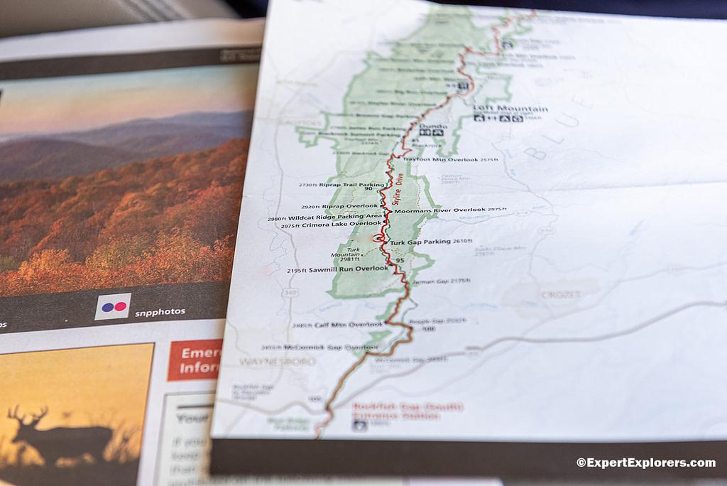 Map of the Shenandoah National Park, Virginia