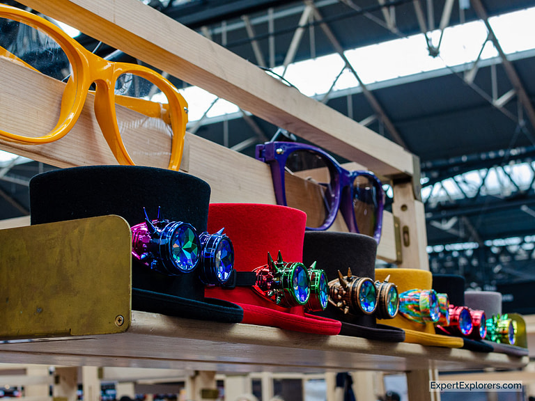 Multi-colored Top Hats with Wacky and Wonderful Eyeglasses in Spitalfields Market