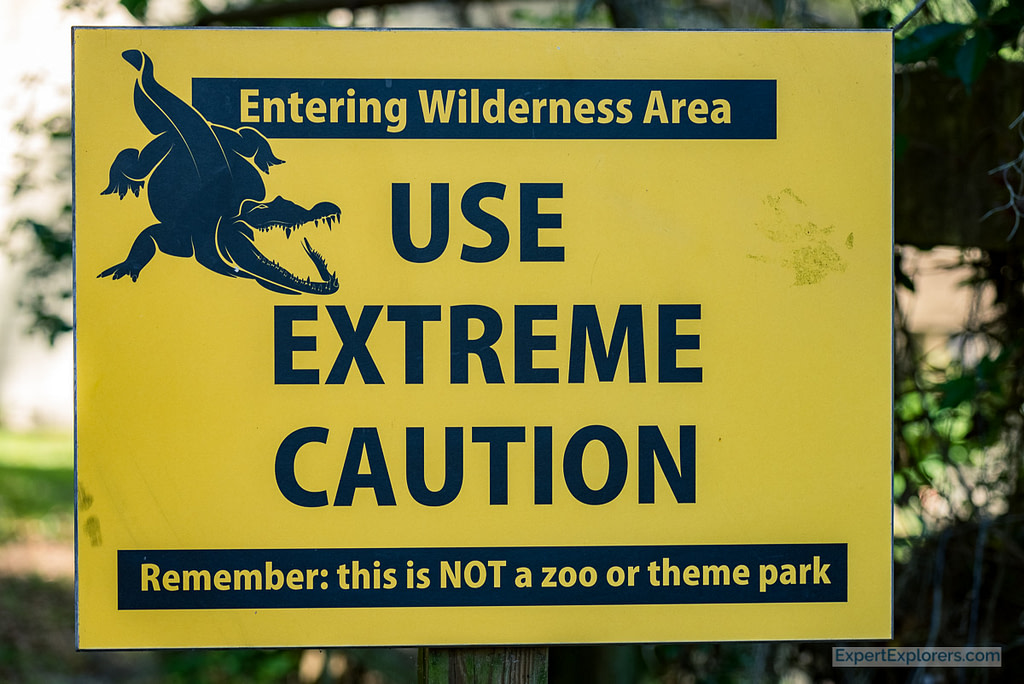 Use Extreme Caution Wildlife Sign at Paynes Prairie Florida