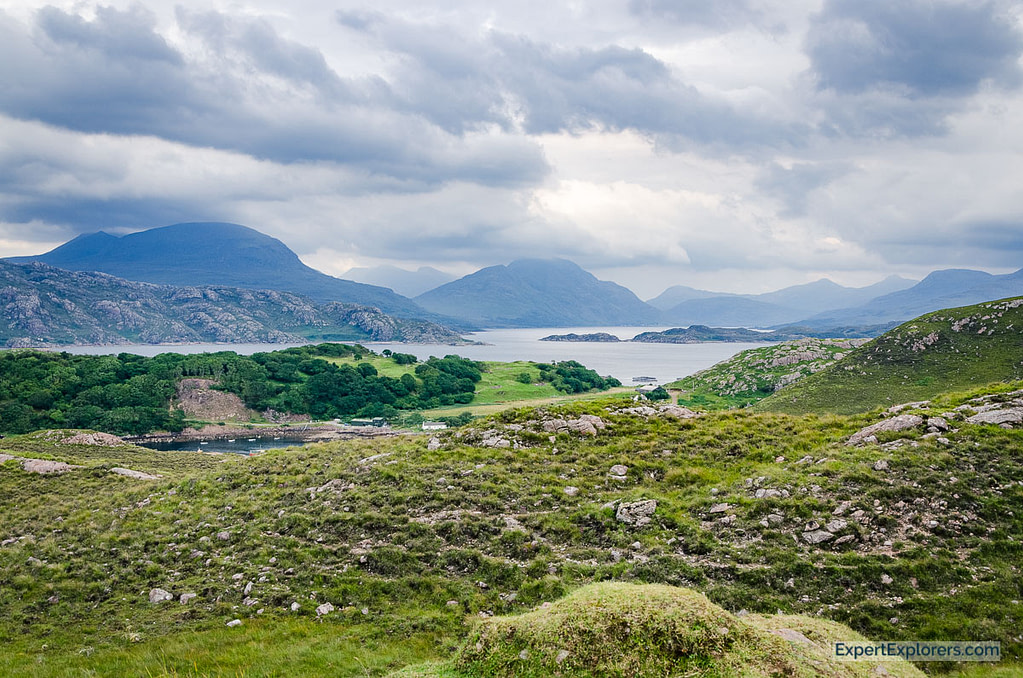 view over lochs and mountains, Strathcarron, Scotland