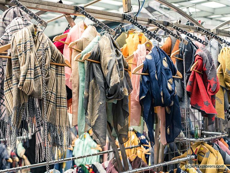 Beautiful Scarves Hang in Spitalfields Market