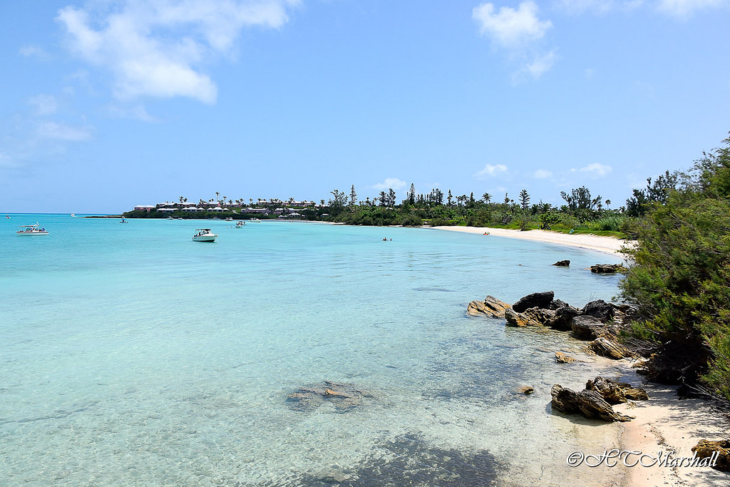 Crystal clear bluw water of Long Bay Beach, one of Bermuda's Best Beaches