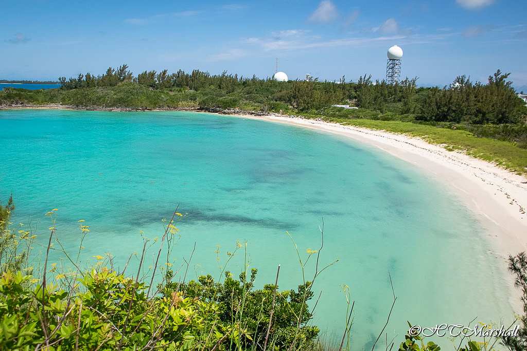Cliff view of Wells Bay at Coopers Island, one of Bermuda's best beaches