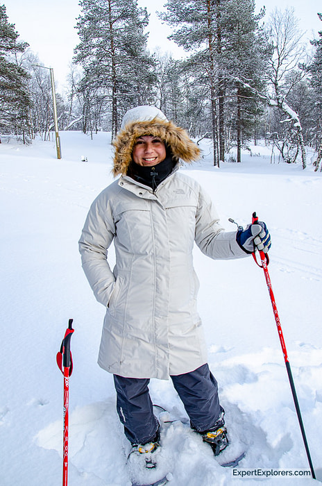 Nicole snowshoeing in Ivalo, Finland