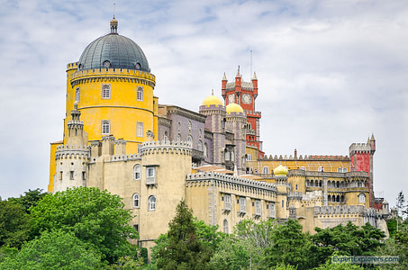 National Palace of Pena view from garden in Sintra,Portugal