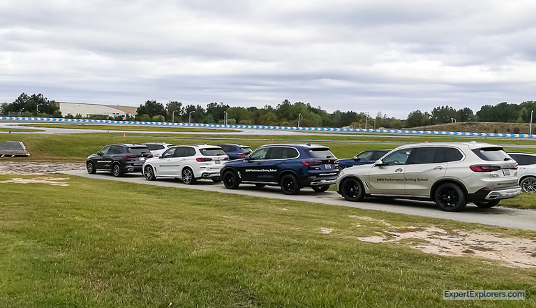 Line up of BMW X5s at the BMW Performance Center