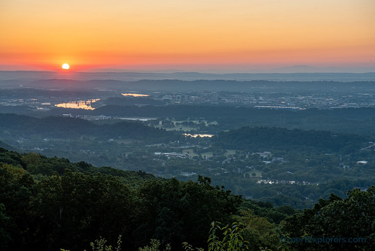 View of sunrise over Chattanooga