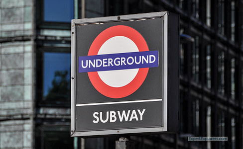 Sign for Underground, London's subway system