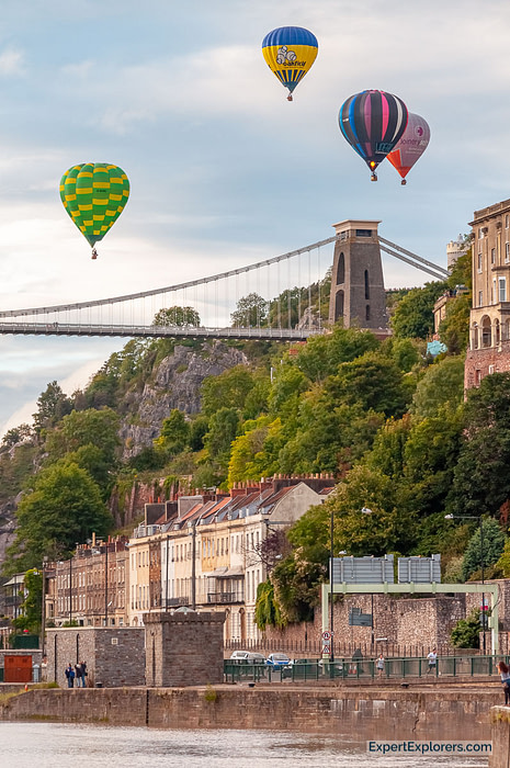 Hot air balloons float above Clifton Suspension Bridge for the Bristol International Balloon Fiesta