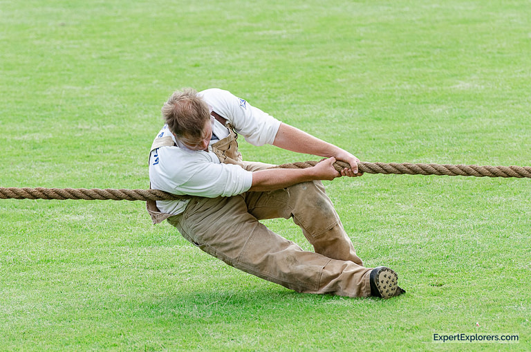 Man pulling rope in Tug of War at Crieff Highland Gathering in Scotland
