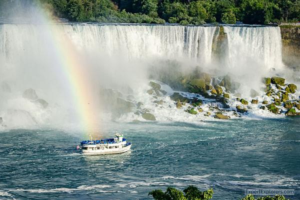 Rainbow follows the Maid of the Mist Niagara Falls