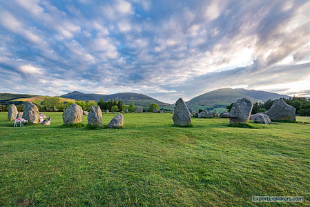 Beautiful sunrise over Castlerigg Stone Circle in the Lake District England