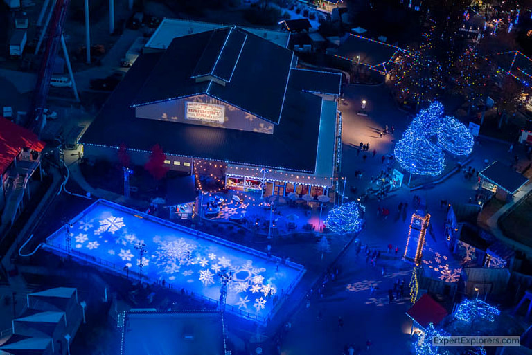 Ice Skating Rink and Harmony Hall at Carowinds Winterfest in the Carolinas