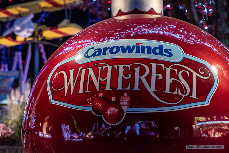 Giant Christmas bobble at Carowinds Winterfest